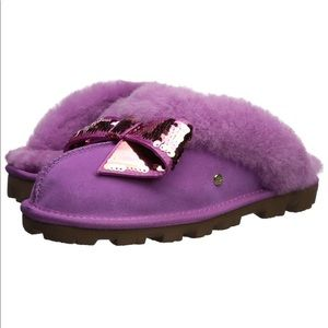 New Ugg Coquette Sequin Bow Slippers 10.5 11